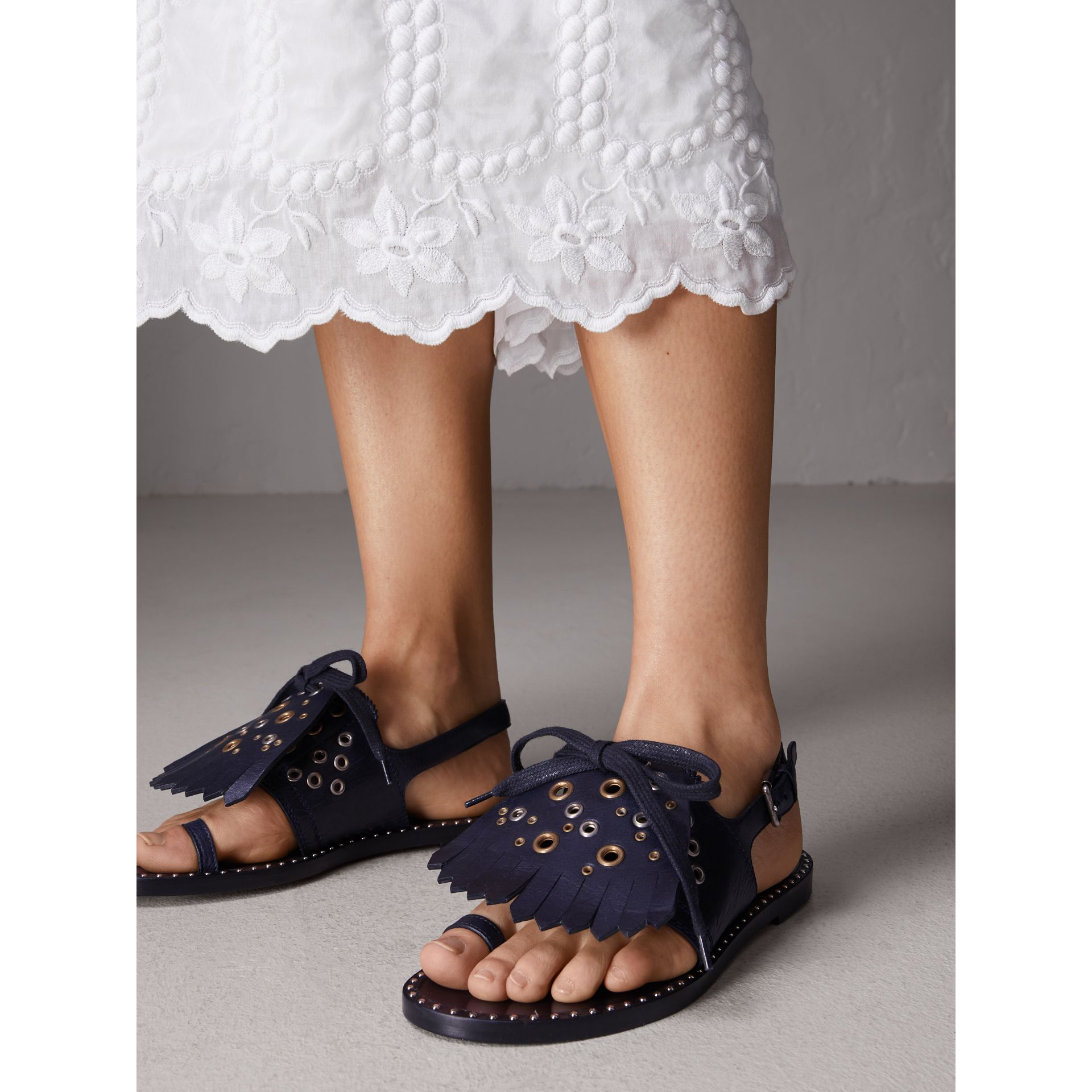 Kiltie Fringe Leather Sandals in Navy - Women | Burberry Canada - gallery image 2