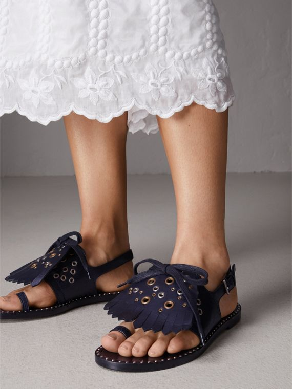Kiltie Fringe Leather Sandals in Navy - Women | Burberry Canada - cell image 2