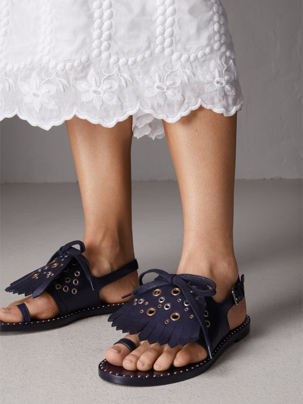 Kiltie Fringe Leather Sandals in Navy - Women | Burberry United Kingdom - cell image 2
