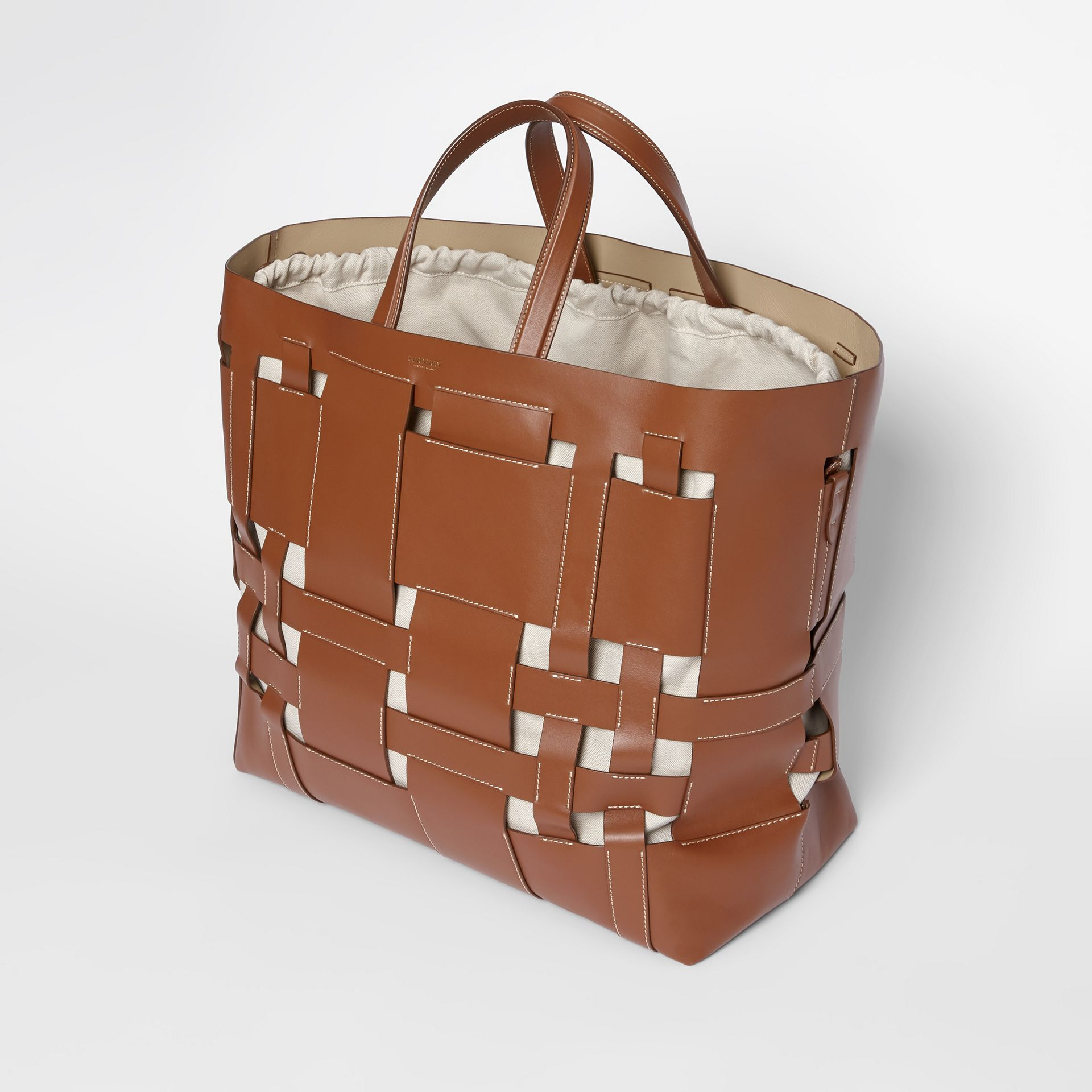Large Leather Foster Tote in Malt Brown - Women | Burberry - gallery image 3