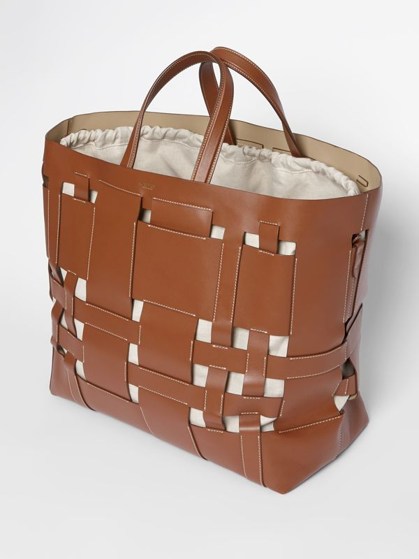 Large Leather Foster Tote in Malt Brown - Women | Burberry - cell image 3
