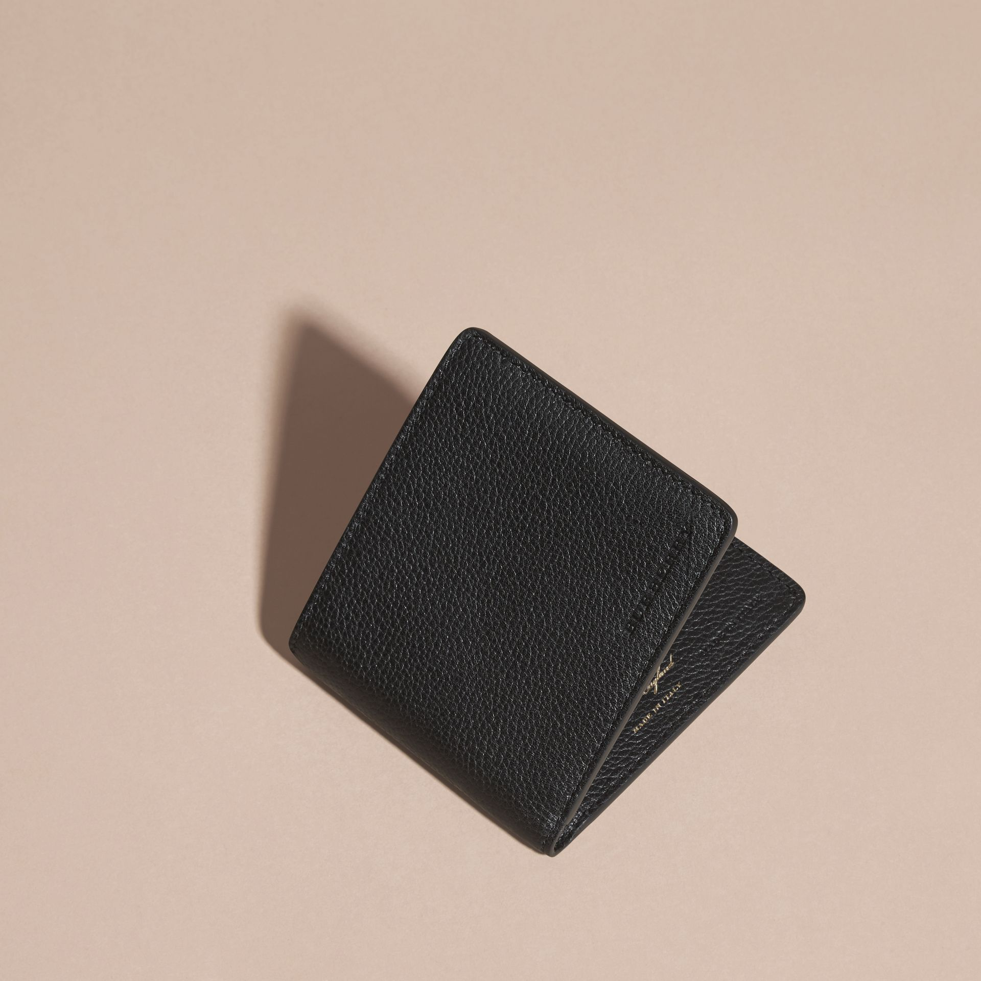 Black Leather Folding Wallet Black - gallery image 3