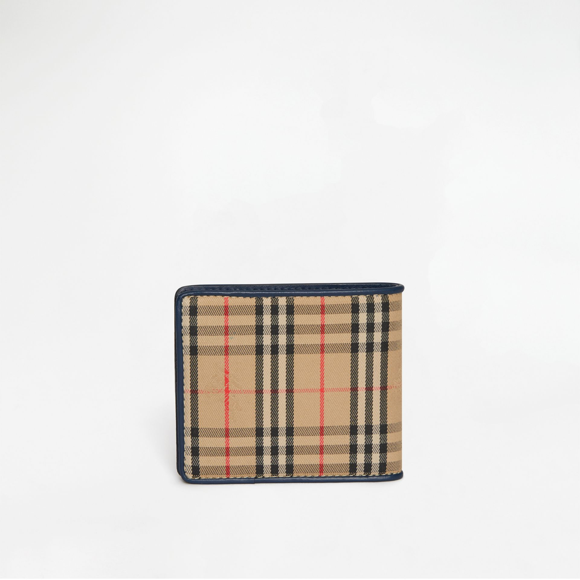 1983 Check and Leather International Bifold Wallet in Ink Blue - Men | Burberry Singapore - gallery image 5