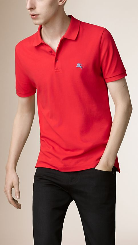 Military red Cotton Piqué Double Dyed Polo Shirt - Image 1