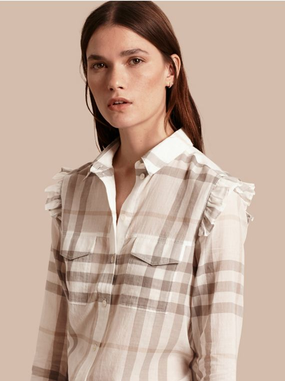 Frill Detail Check Cotton Shirt Natural White