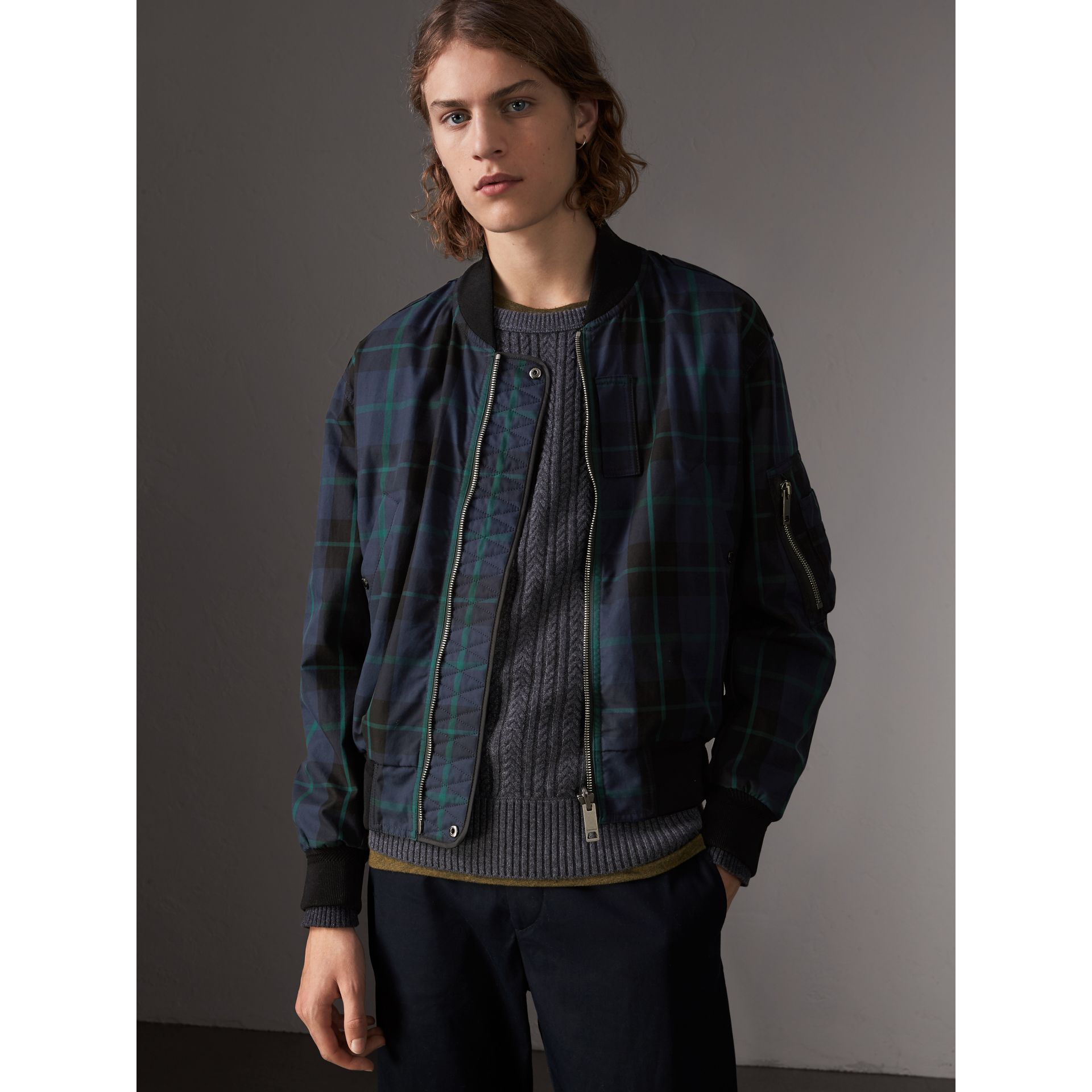 Reversible Check Cotton and Nylon Bomber Jacket in Navy - Men | Burberry - gallery image 0