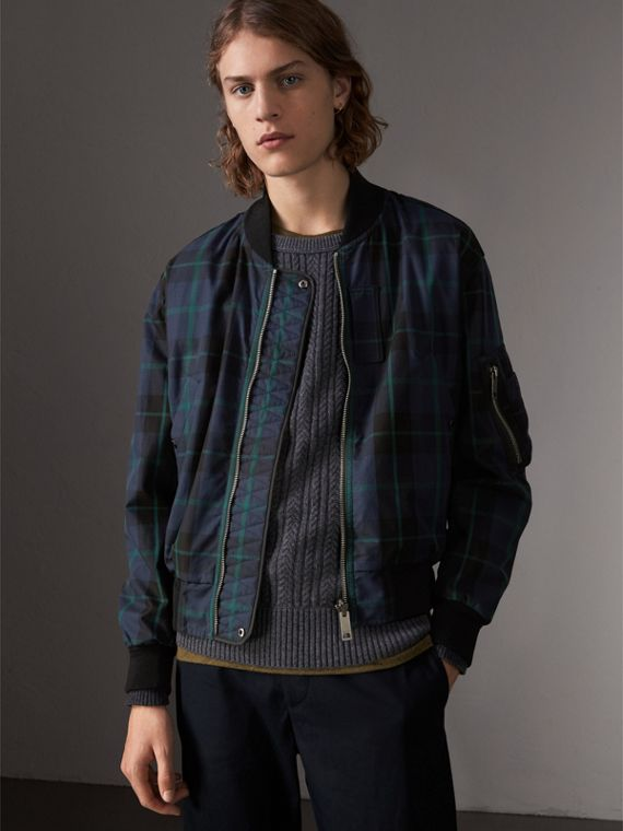 Reversible Check Cotton and Nylon Bomber Jacket in Navy