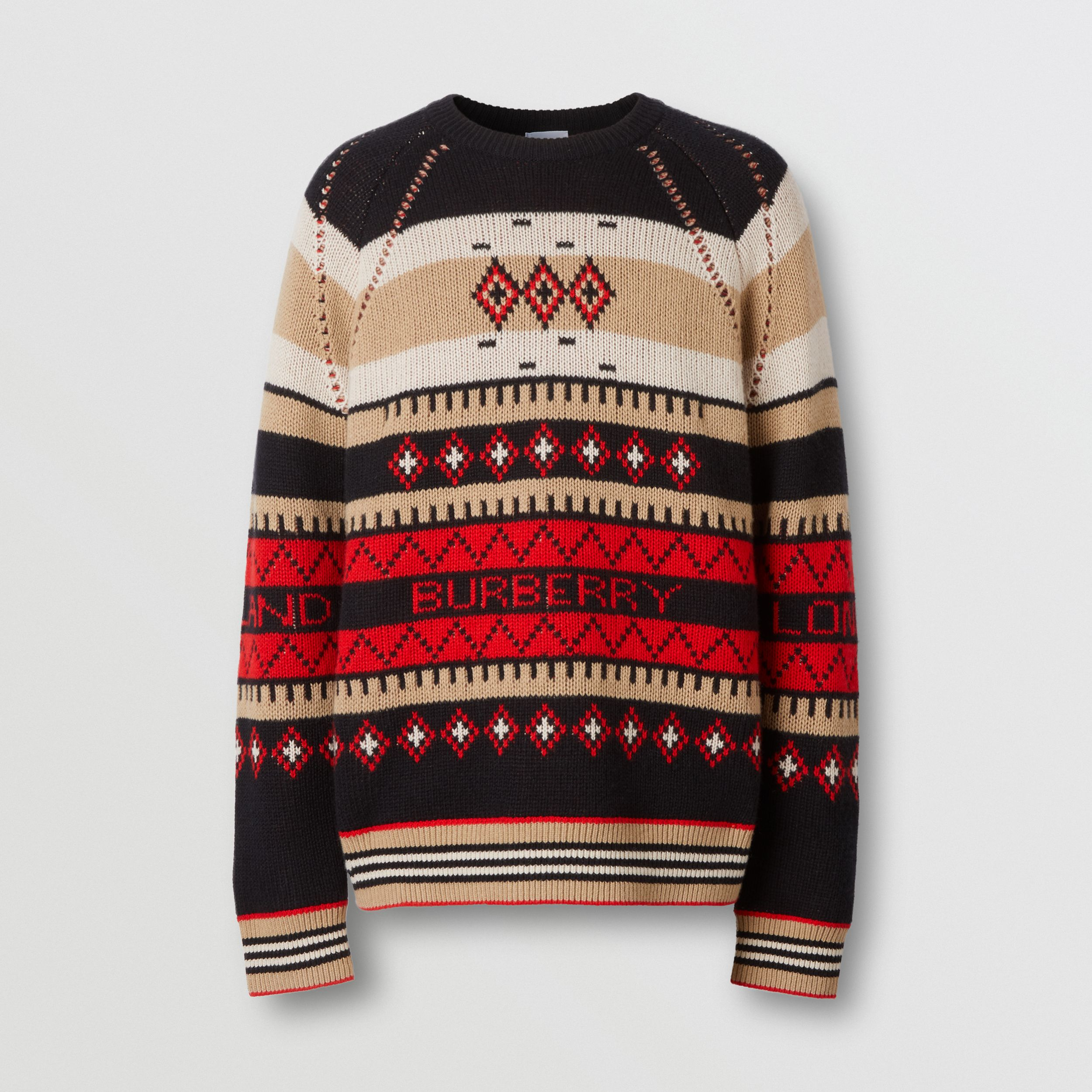 Icon Stripe Detail Fair Isle Cashmere Sweater in Black - Men | Burberry - 4