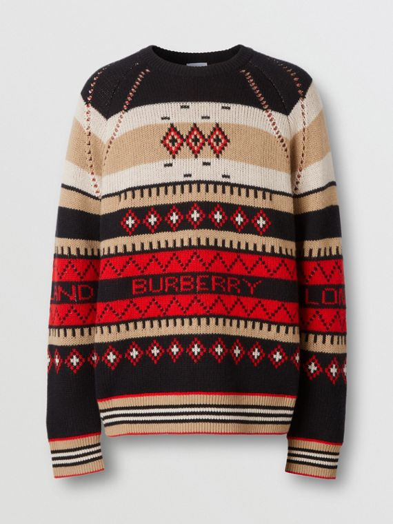 Icon Stripe Detail Fair Isle Cashmere Sweater in Black
