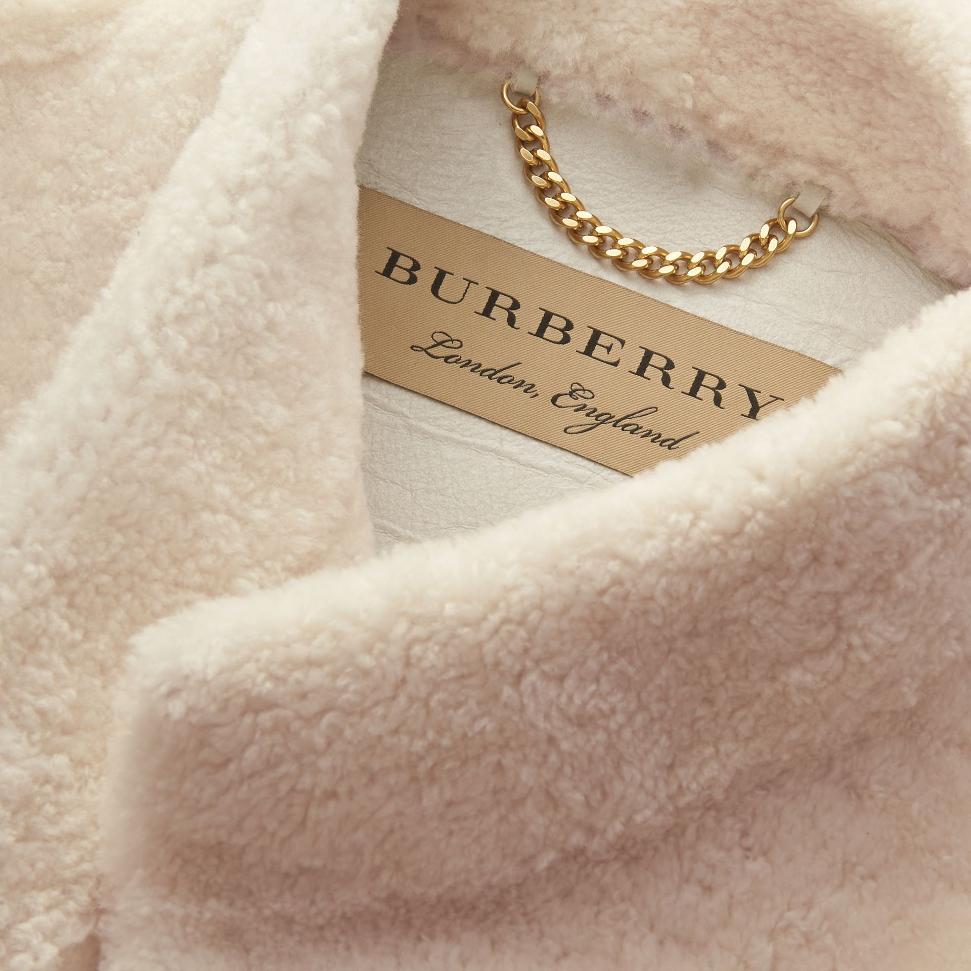 Sculptural Shearling Cape in White - Women | Burberry Canada - gallery image 2