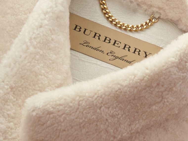 Sculptural Shearling Cape in White - Women | Burberry Canada - cell image 1