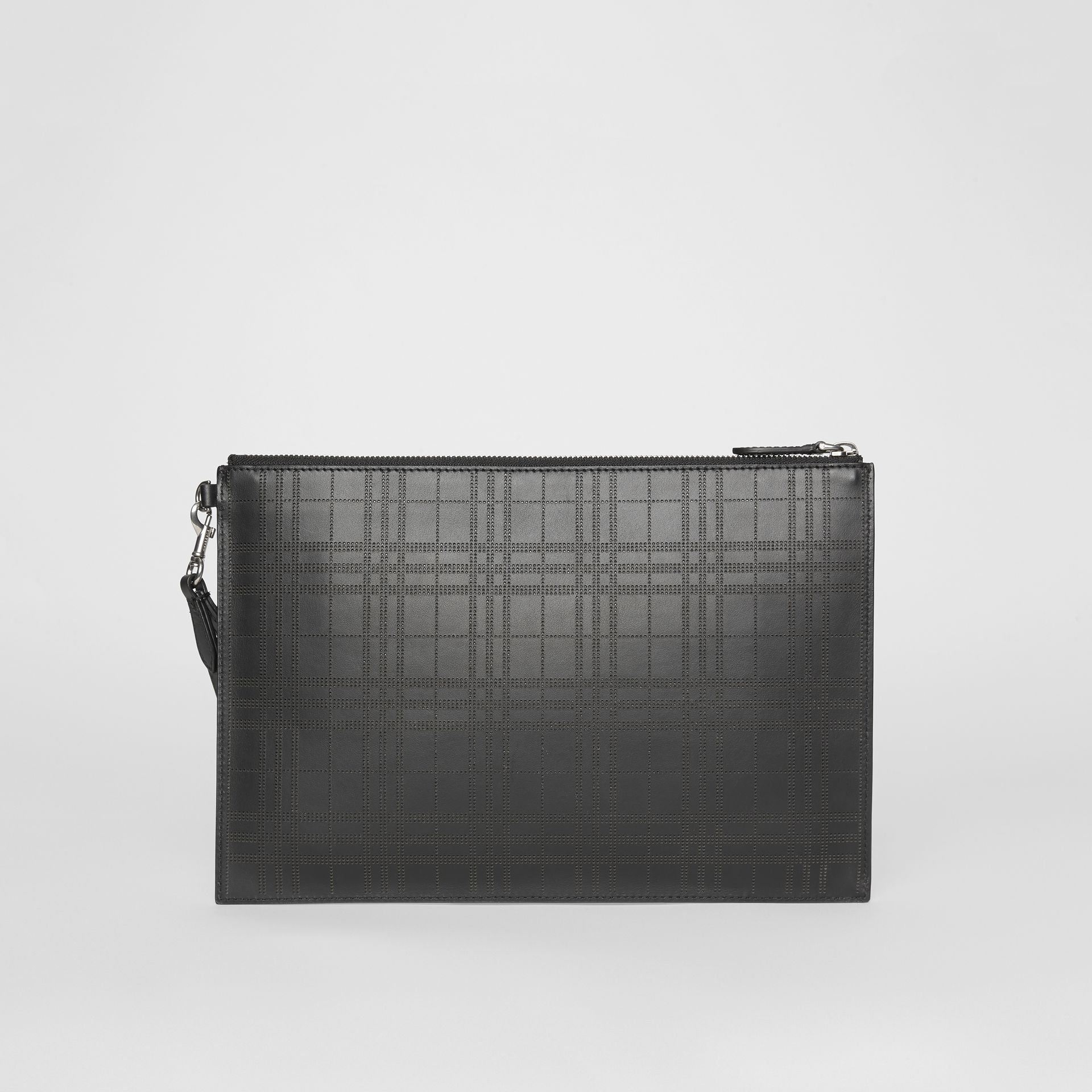 Perforated Check Leather Zip Pouch in Black - Men | Burberry - gallery image 4