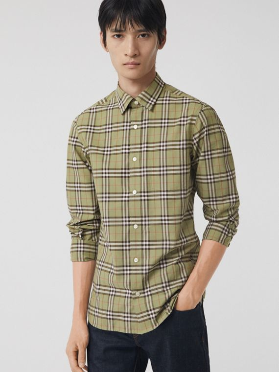 Check Cotton Shirt in Pale Powdr Green