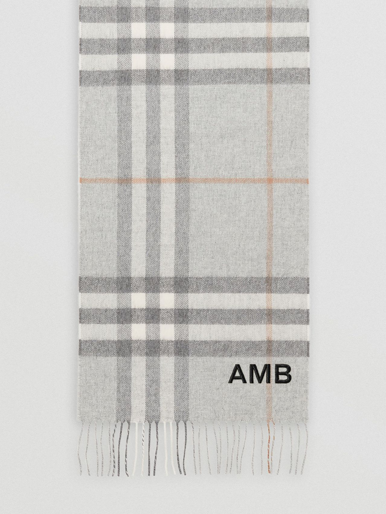 The Classic Check Cashmere Scarf in Light Grey