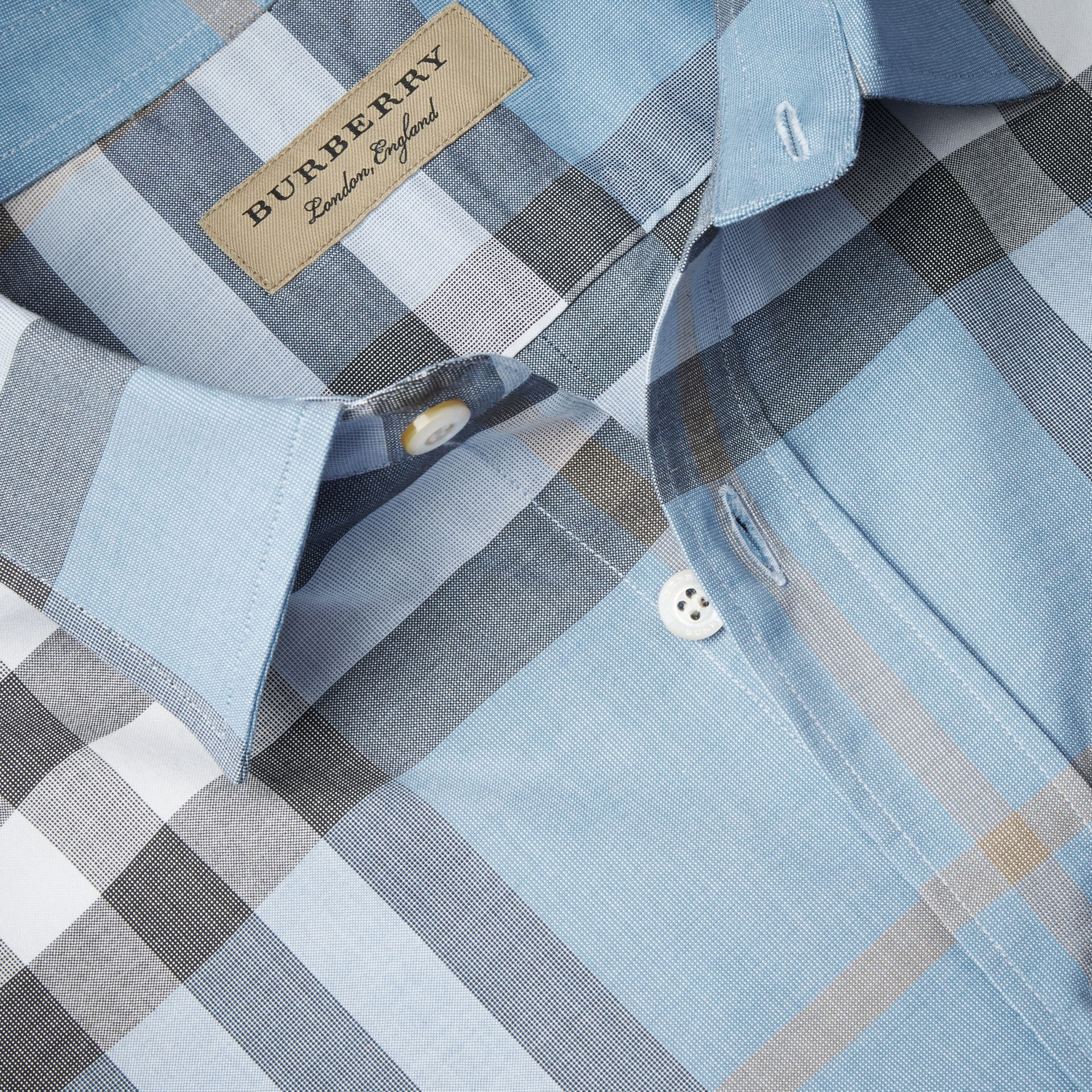 Check Cotton Oxford Shirt Cerulean Blue - gallery image 2