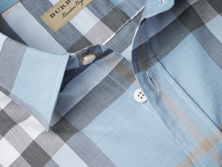 Check Cotton Oxford Shirt Cerulean Blue - cell image 1