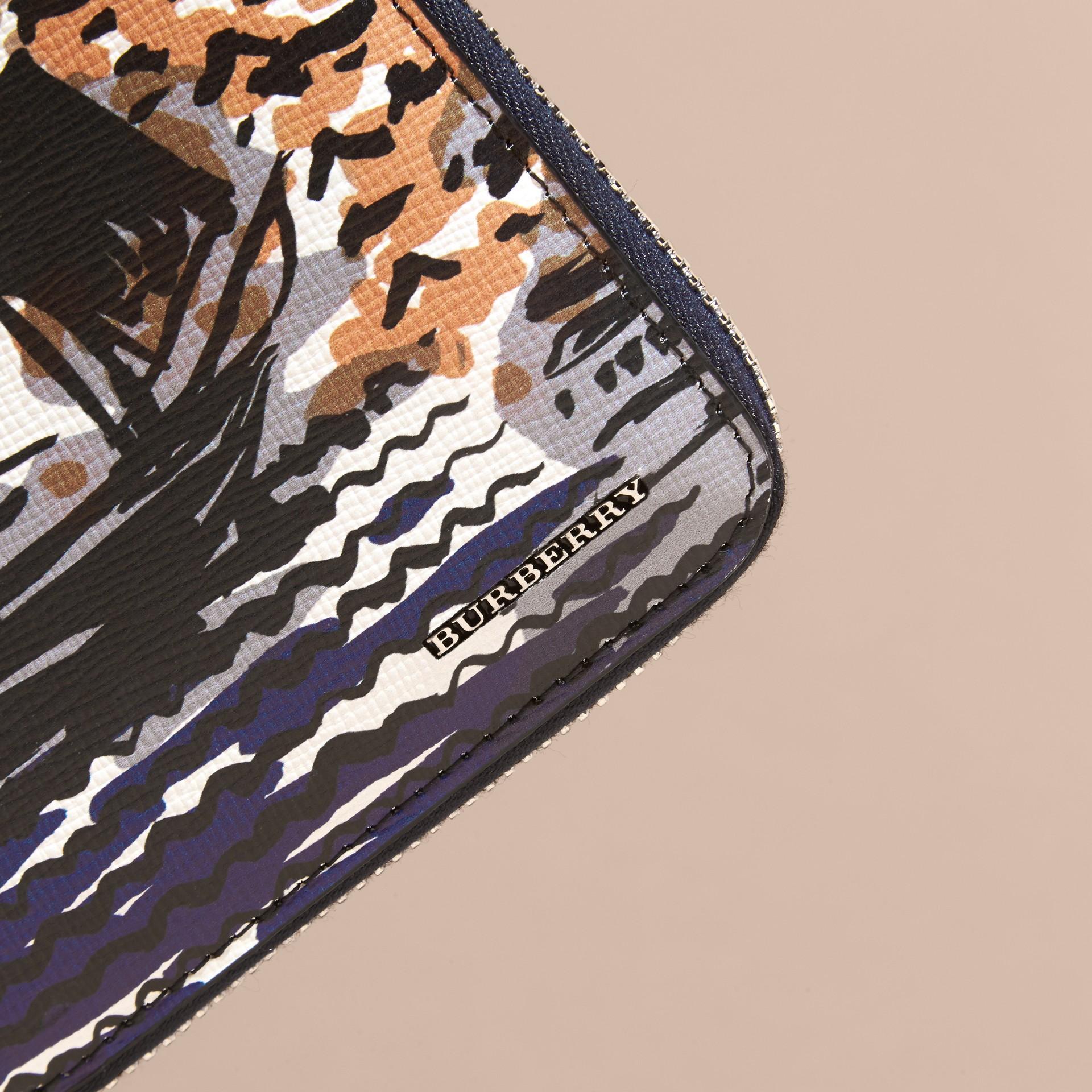 British Seaside Print London Leather Ziparound Wallet Amber Yellow - gallery image 2