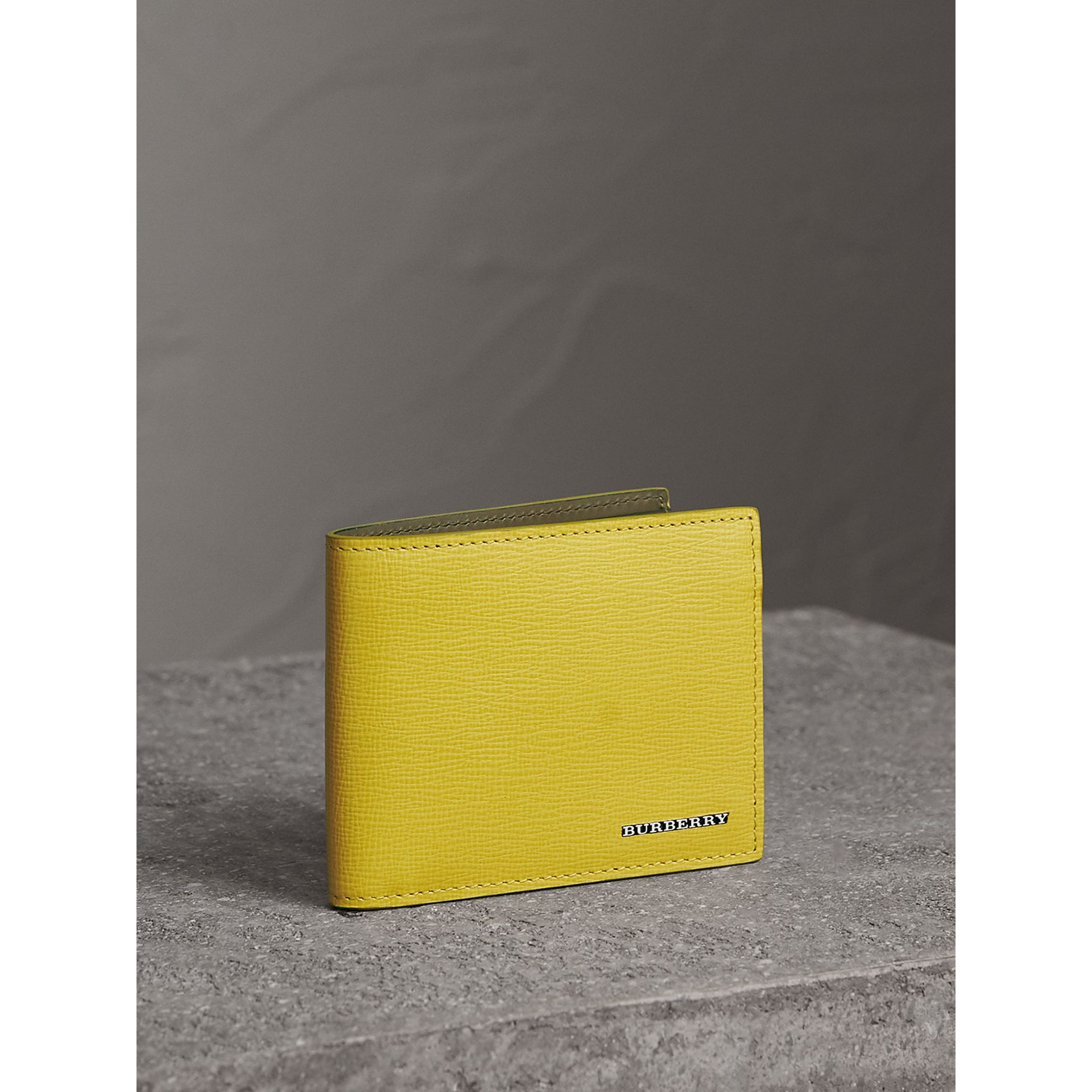 London Leather Slim Folding Wallet in Bright Citrus | Burberry - gallery image 1