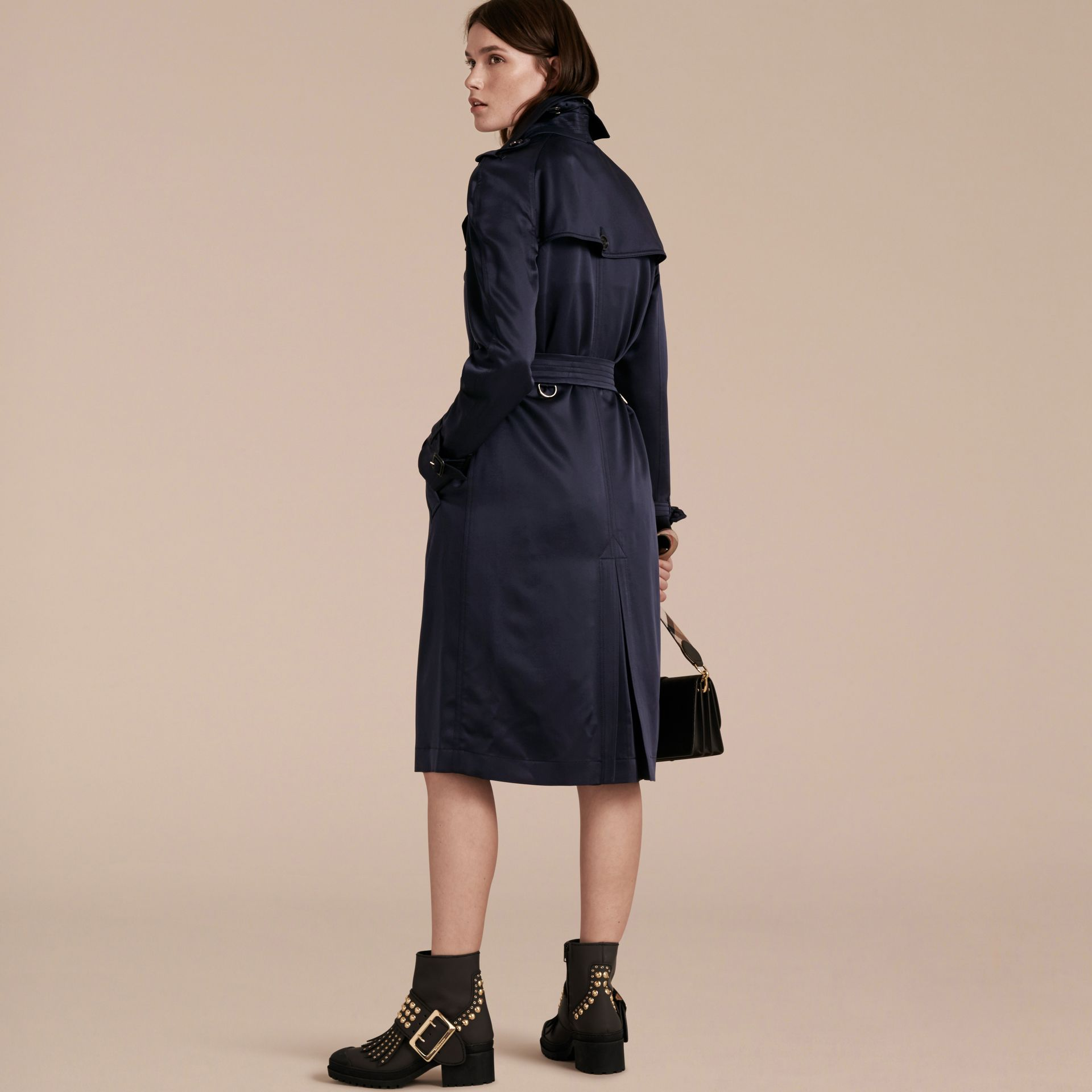 Navy Silk Trench Coat - gallery image 3