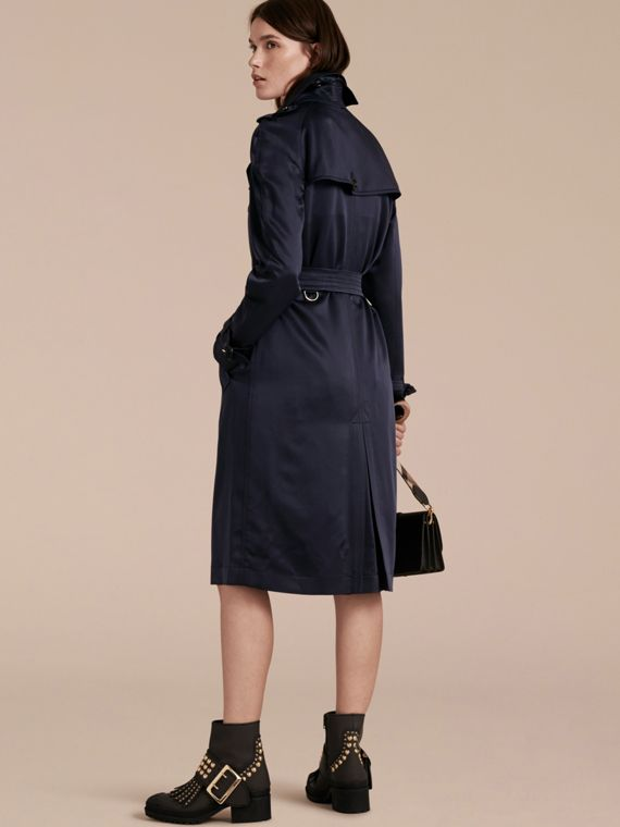 Navy Silk Trench Coat - cell image 2