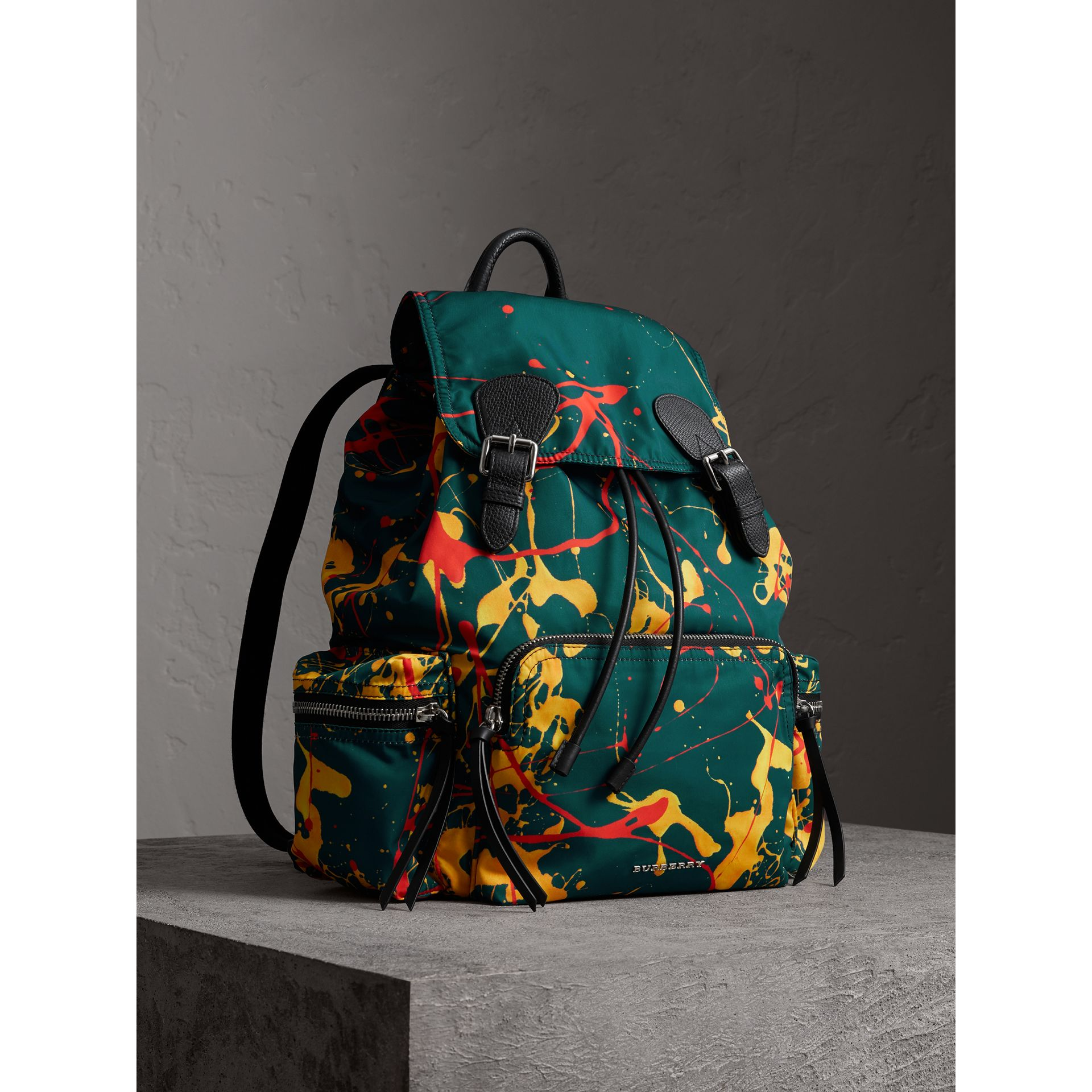 The Large Rucksack in Splash Print in Dark Teal - Men | Burberry - gallery image 0