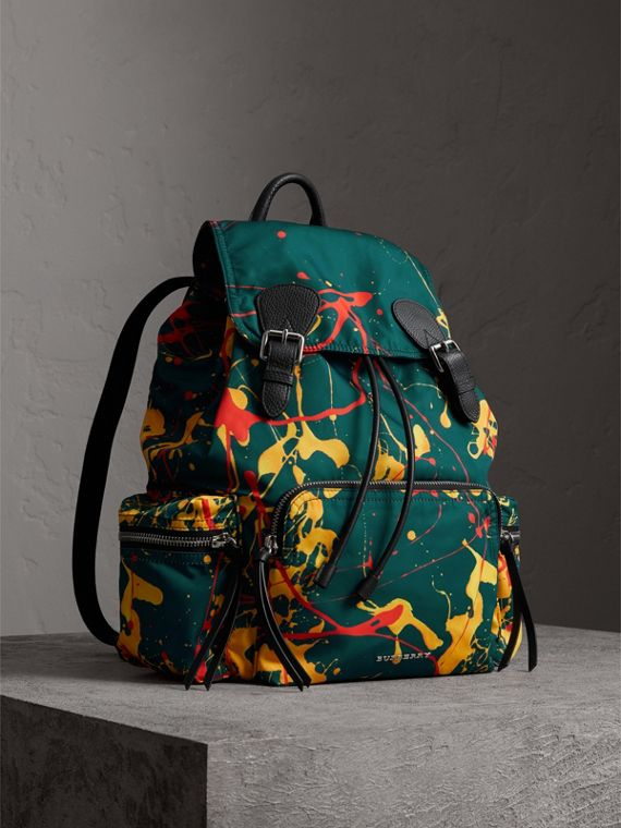 The Large Rucksack in Splash Print in Dark Teal