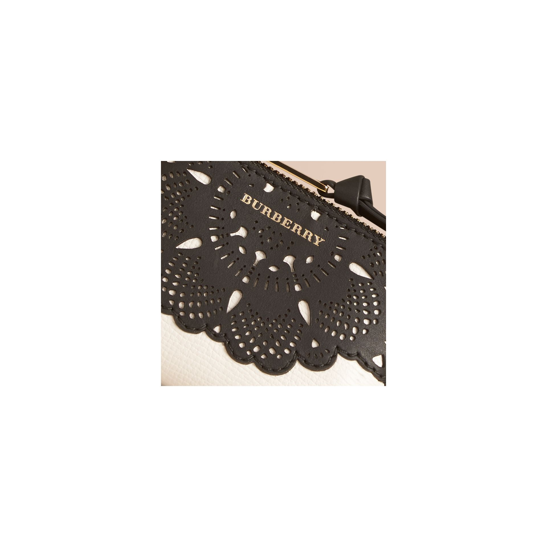 Natural Laser-cut Lace Grainy Leather Coin Case - gallery image 2