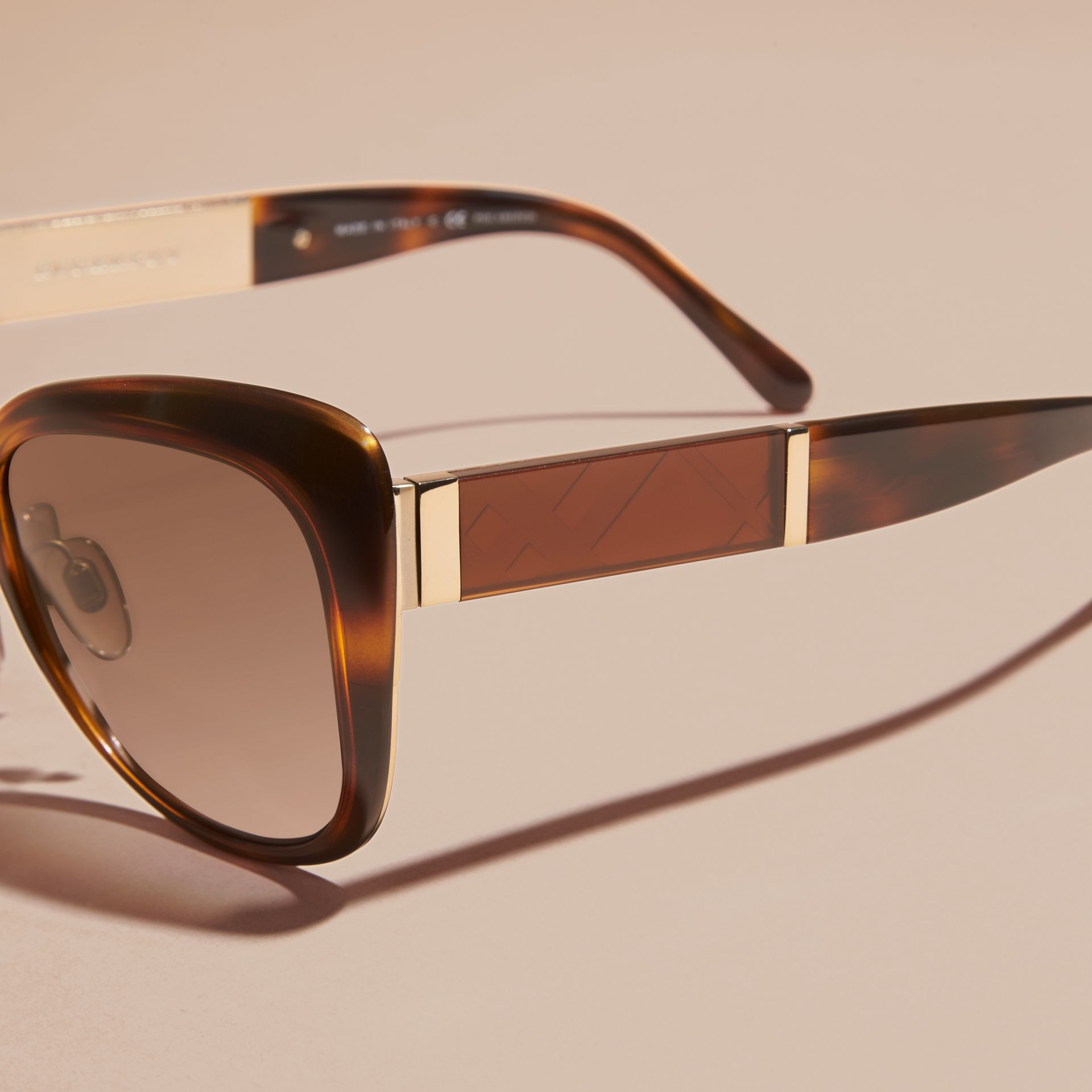 Light russet brown Check Detail Square Cat-eye Sunglasses - gallery image 2