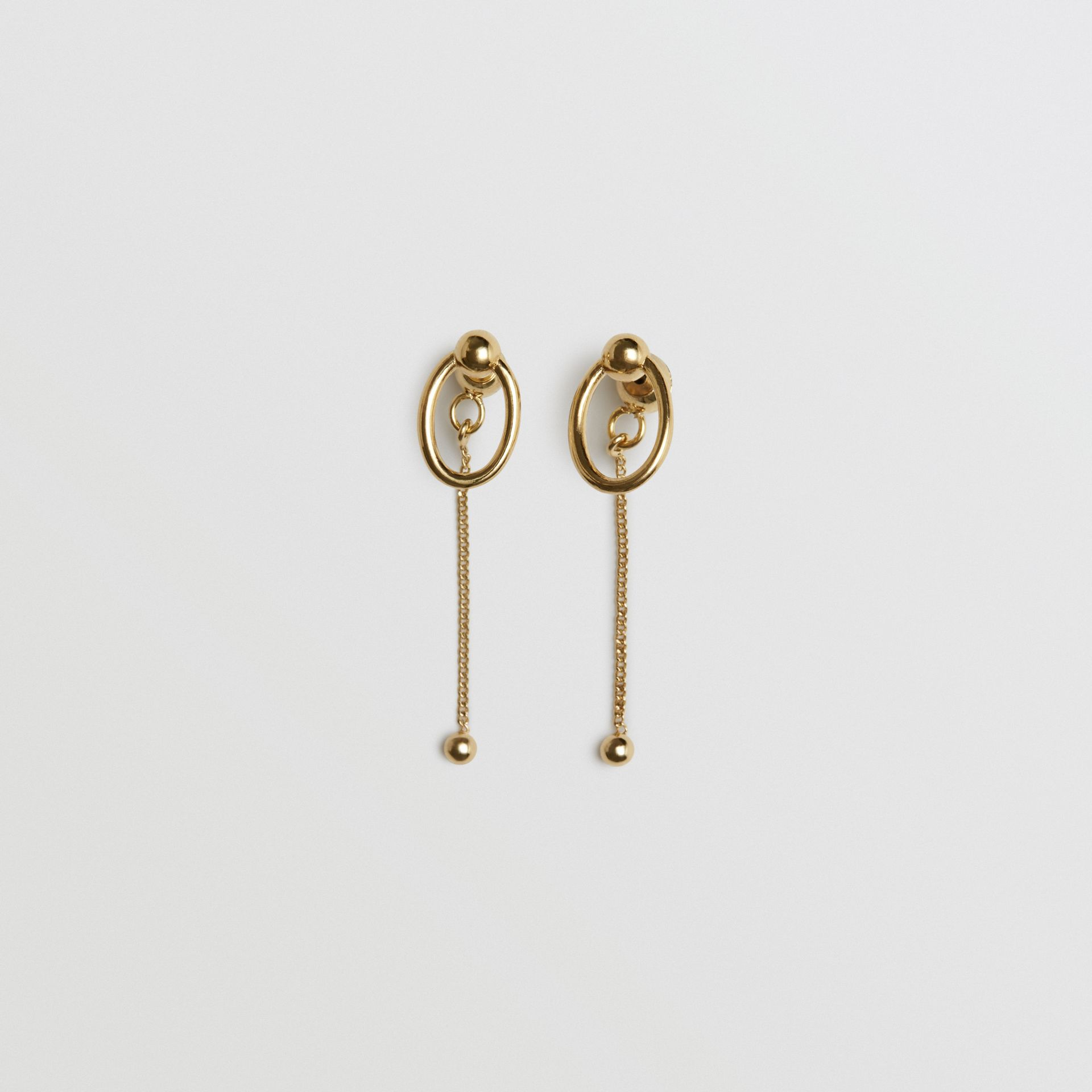 Oval and Charm Gold-plated Drop Earrings in Light - Women | Burberry Australia - gallery image 0