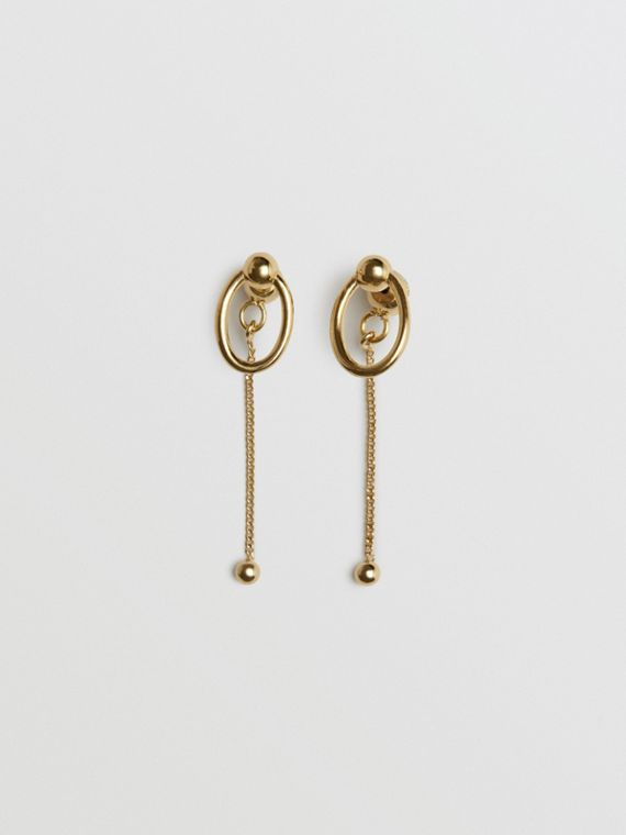 Oval and Charm Gold-plated Drop Earrings in Light