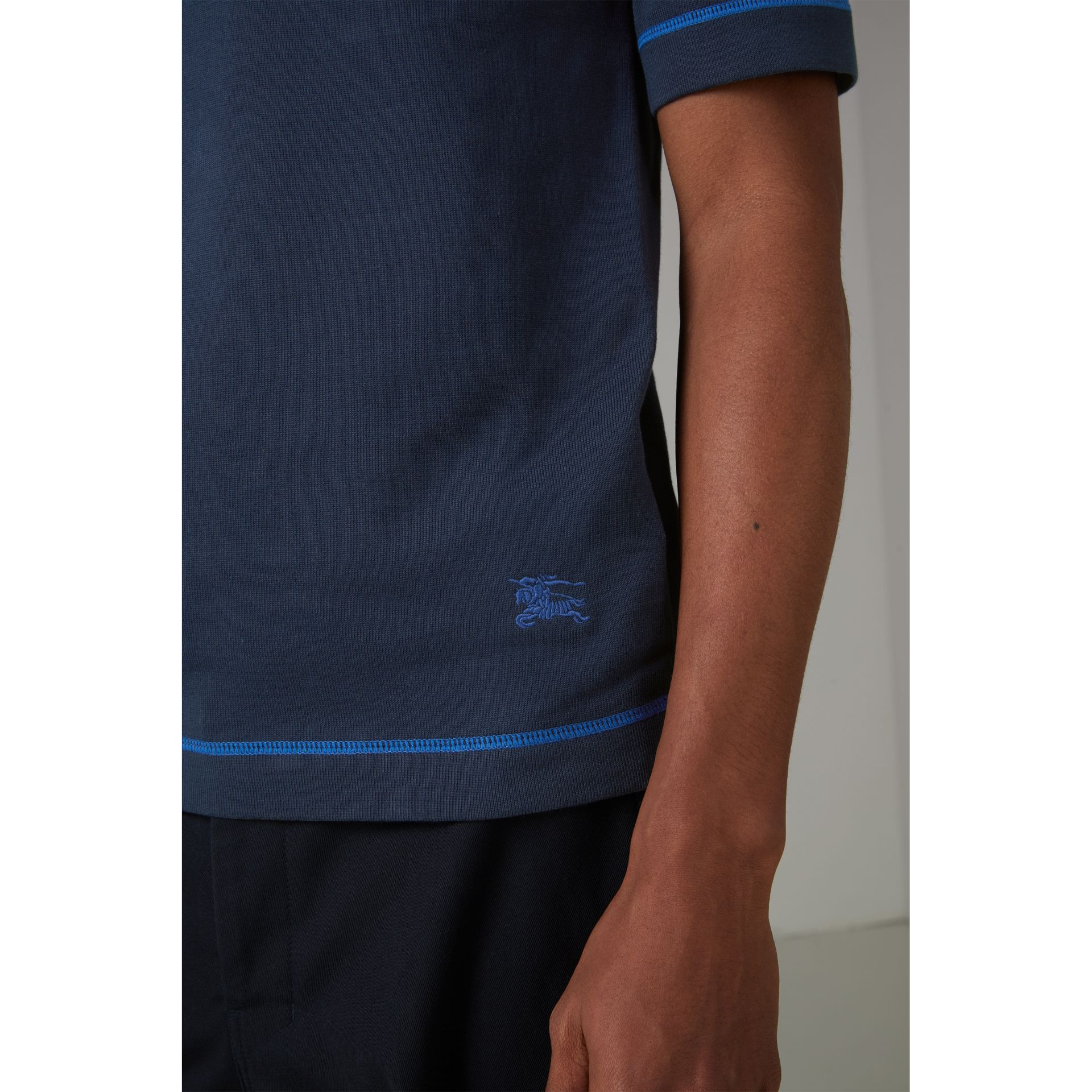 Tipped Cotton Jersey Polo Shirt in Navy Blue - Men | Burberry - gallery image 4