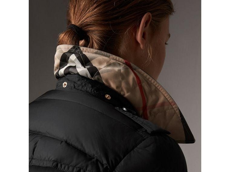 Detachable Hood Fur Trim Down-filled Puffer Coat in Black - Women | Burberry - cell image 4