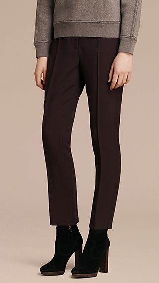 Wool Silk Straight Leg Trousers Dark Elderberry