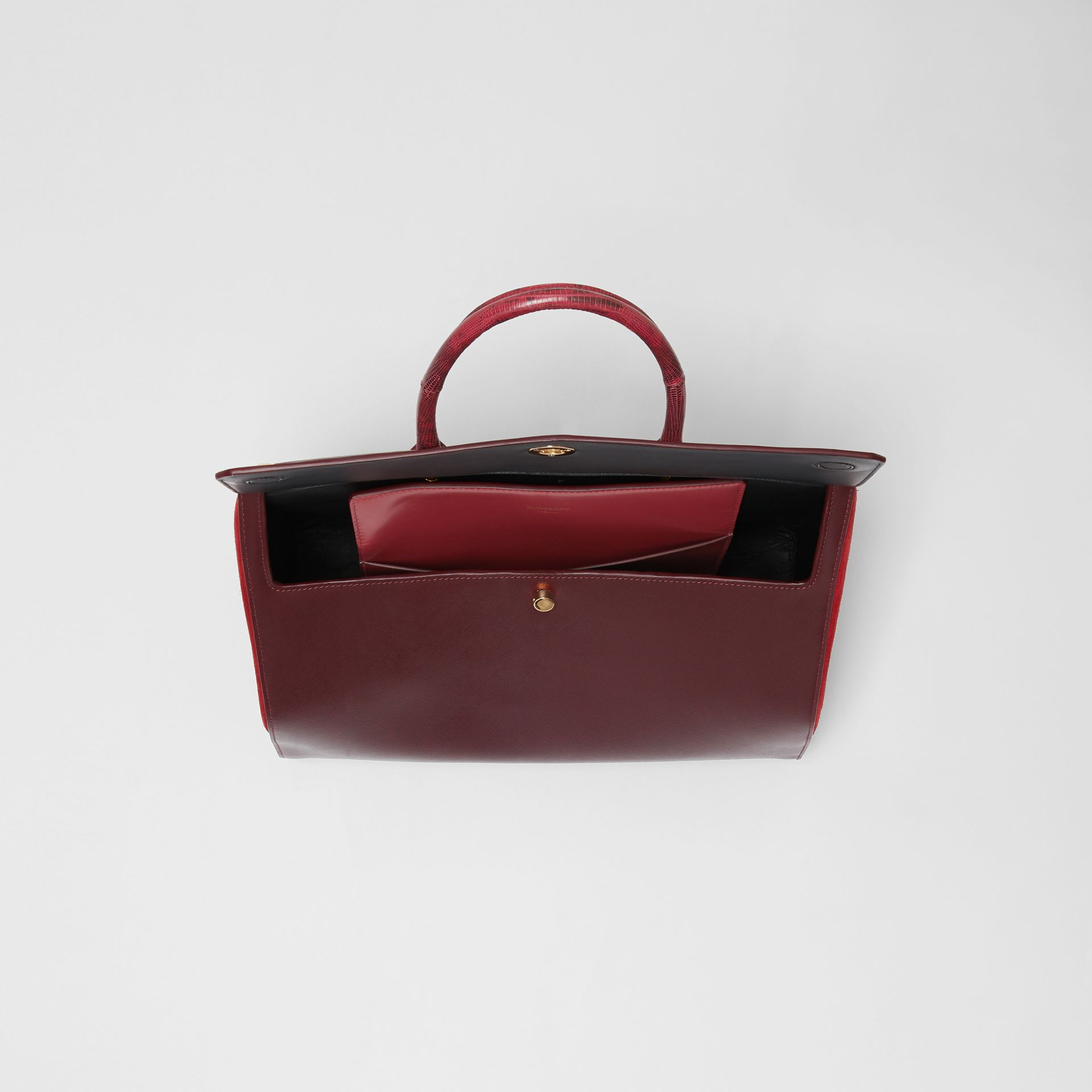 Medium Leather and Suede Elizabeth Bag in Crimson - Women | Burberry Australia - gallery image 4