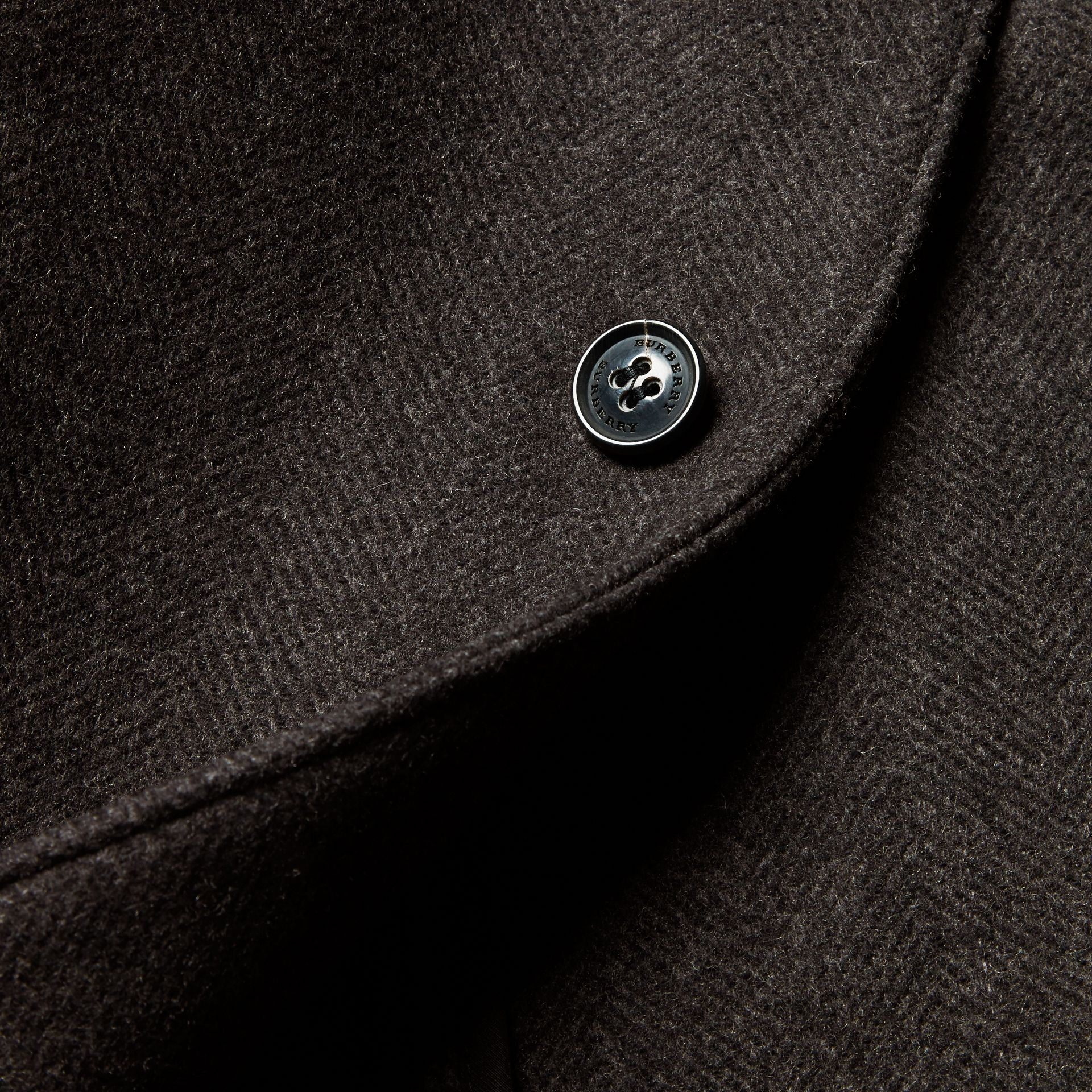 Charcoal melange Single-breasted Wool Blend Tailored Coat - gallery image 2