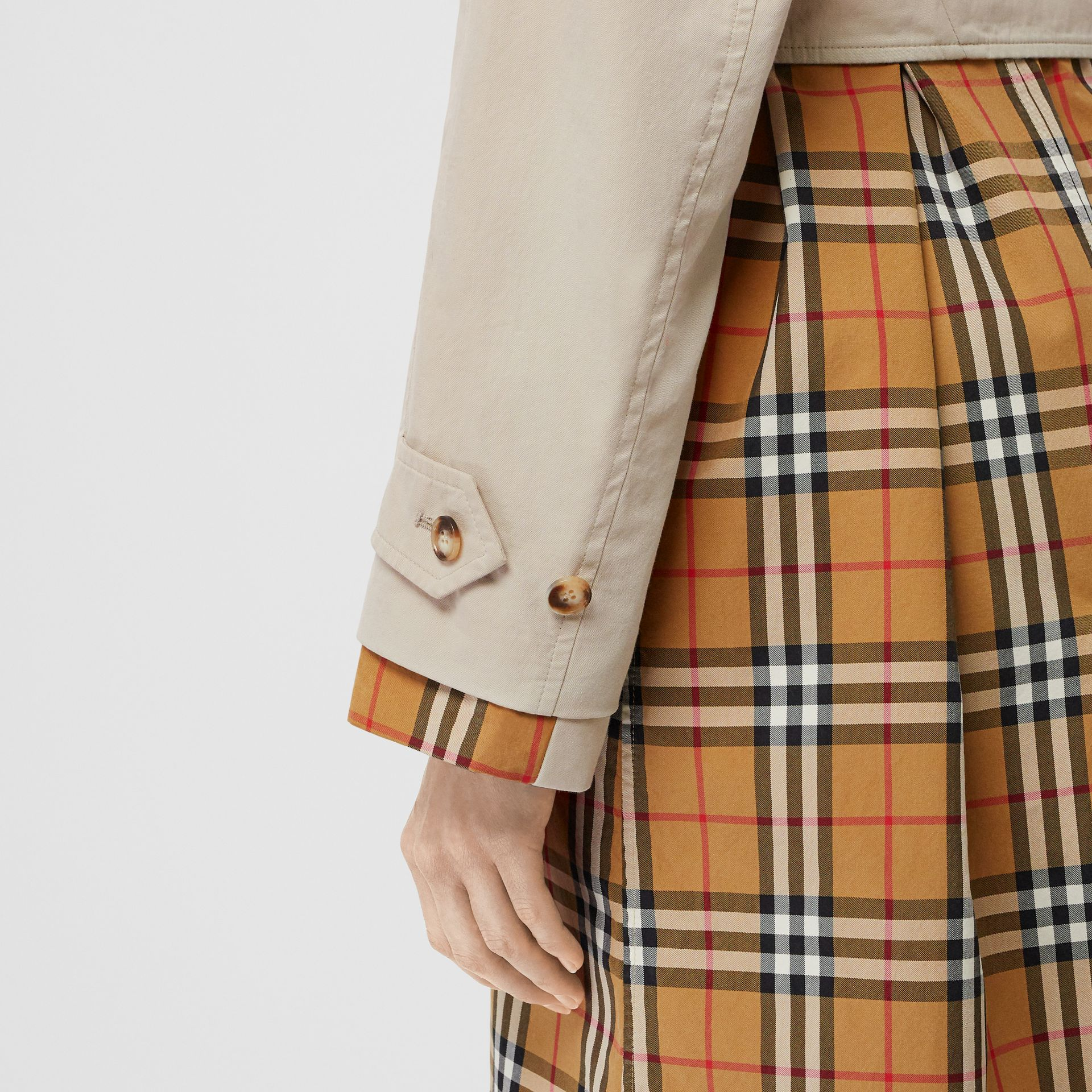 Vintage Check and Tropical Gabardine Car Coat in Stone - Women | Burberry - gallery image 6