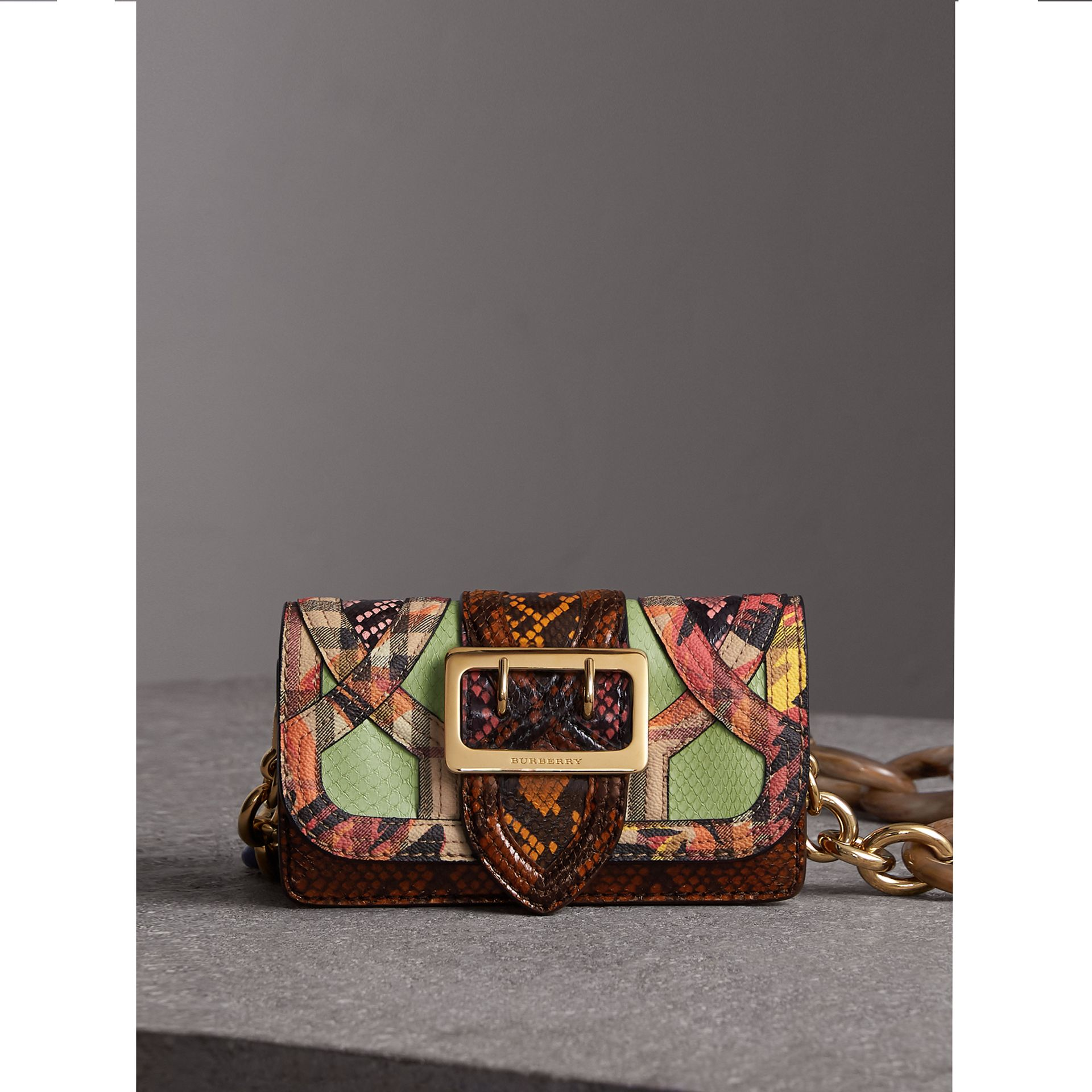 a6b894bdcd18 The Small Buckle Bag in Snakeskin and Floral Print in Pale Green - Women