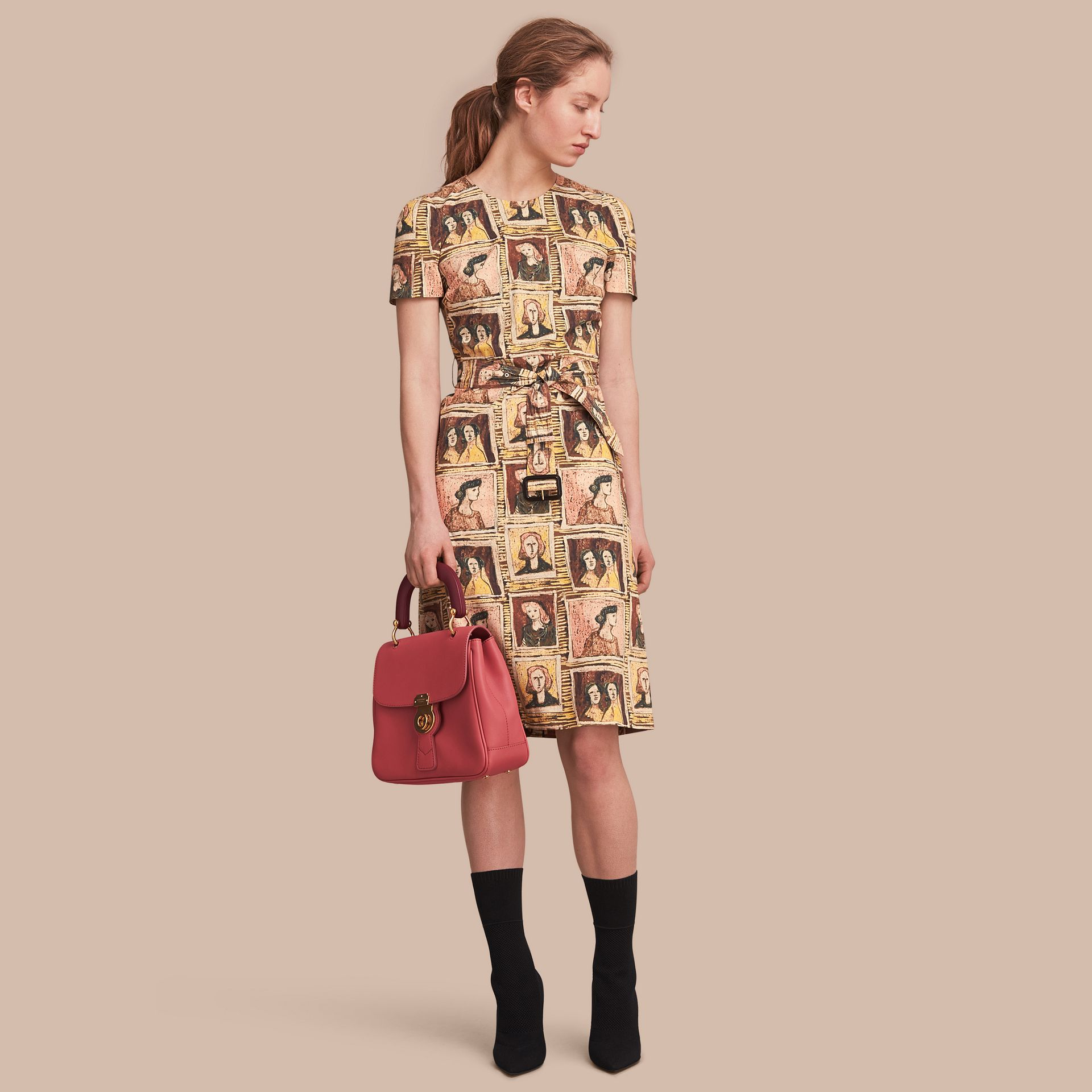 Framed Heads Print Cotton Shift Dress in Umber Brown - Women | Burberry - gallery image 1