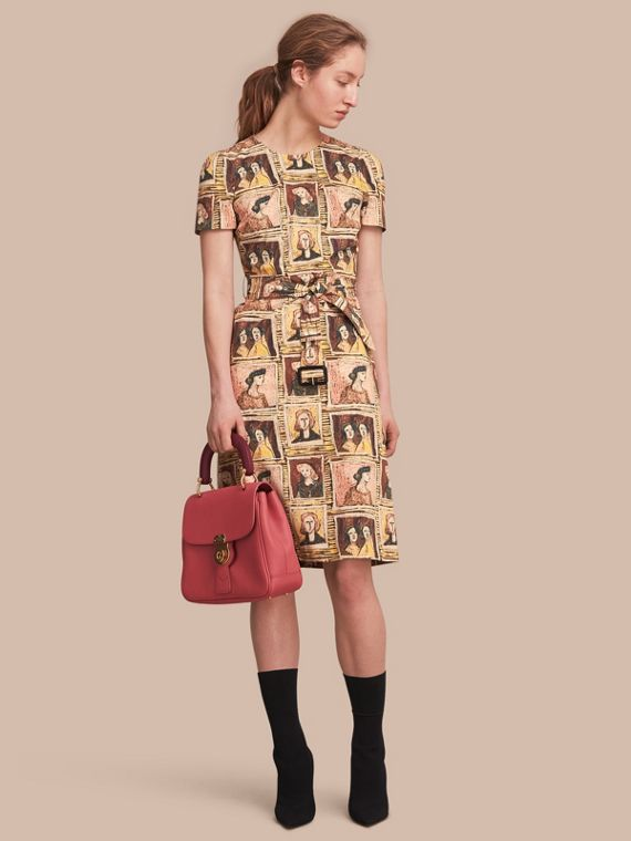 Framed Heads Print Cotton Shift Dress