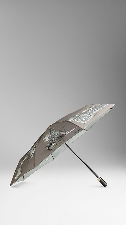 Taupe grey Paris Landmarks Folding Umbrella - Image 1