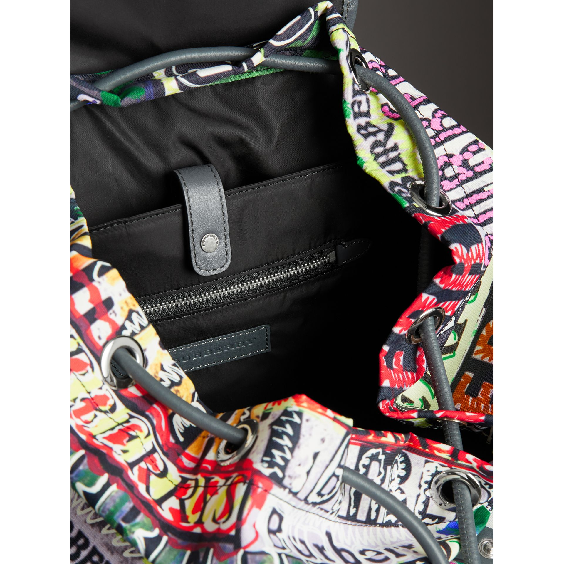 The Large Rucksack in Graffiti Logo Print in Multicolour | Burberry - gallery image 7