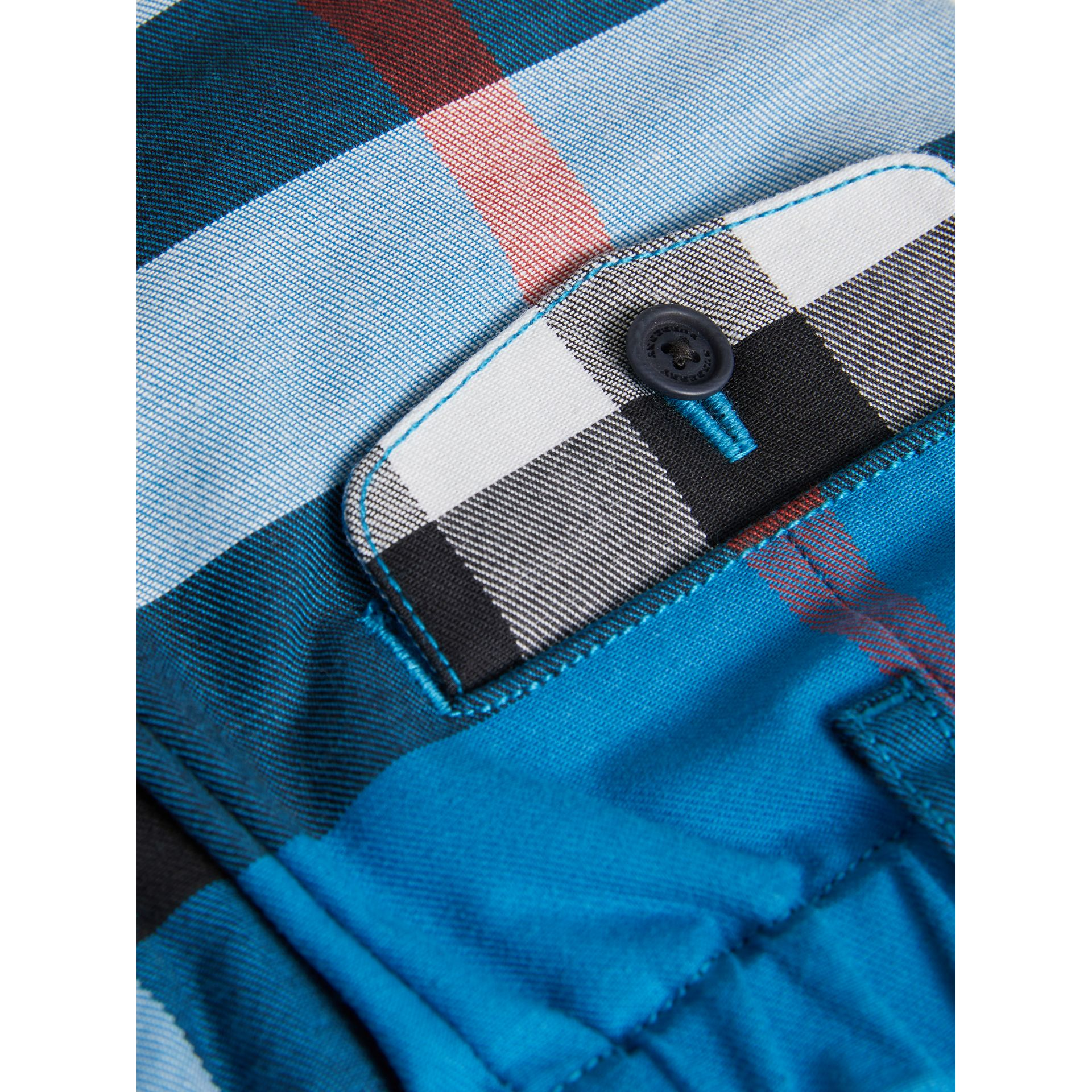 Check Cotton Chino Shorts in Azure Blue | Burberry - gallery image 1