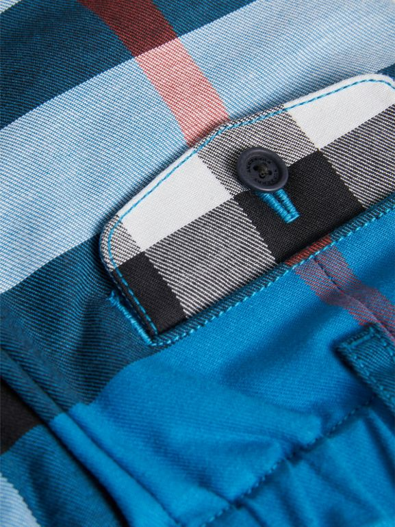 Check Cotton Chino Shorts in Azure Blue | Burberry United Kingdom - cell image 1