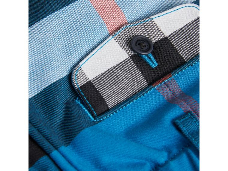 Check Cotton Chino Shorts in Azure Blue | Burberry - cell image 1