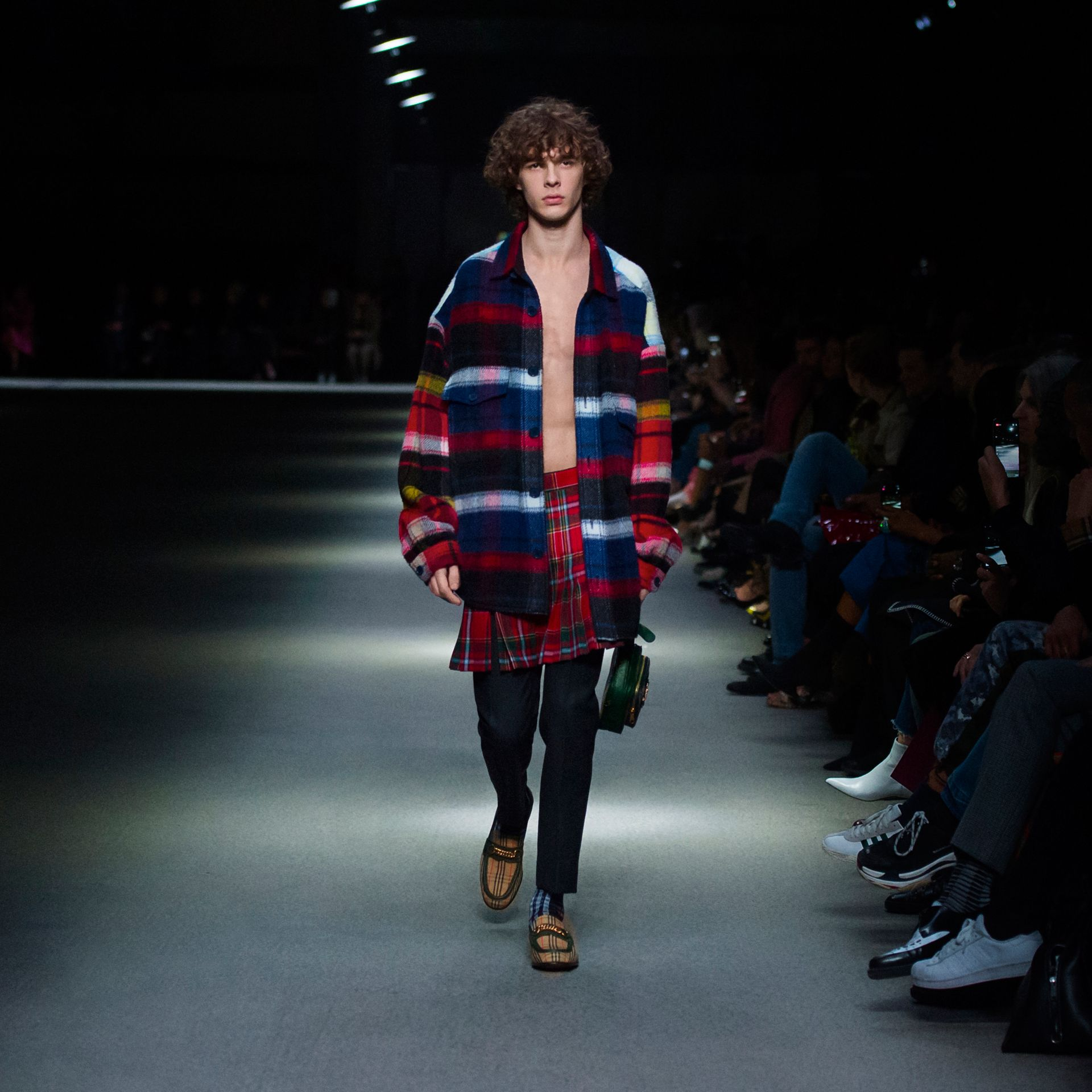 Check Alpaca Wool Jacket in Bright Navy | Burberry Hong Kong - gallery image 5