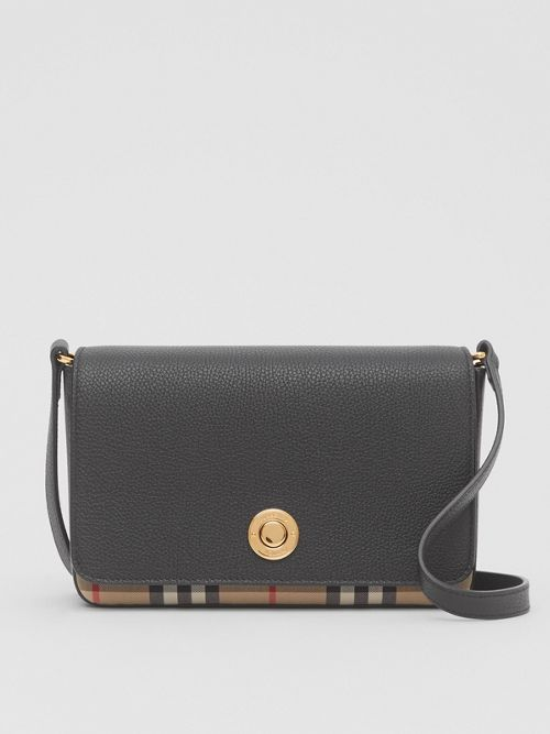 Burberry Crossbody Small Leather and Vintage Check Crossbody Bag
