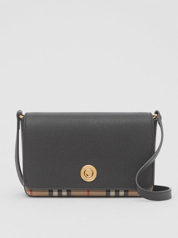 Small Leather and Vintage Check Crossbody Bag in Black