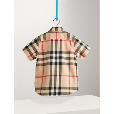 Burberry - Chemise en sergé de coton à manches courtes avec motif check - 3