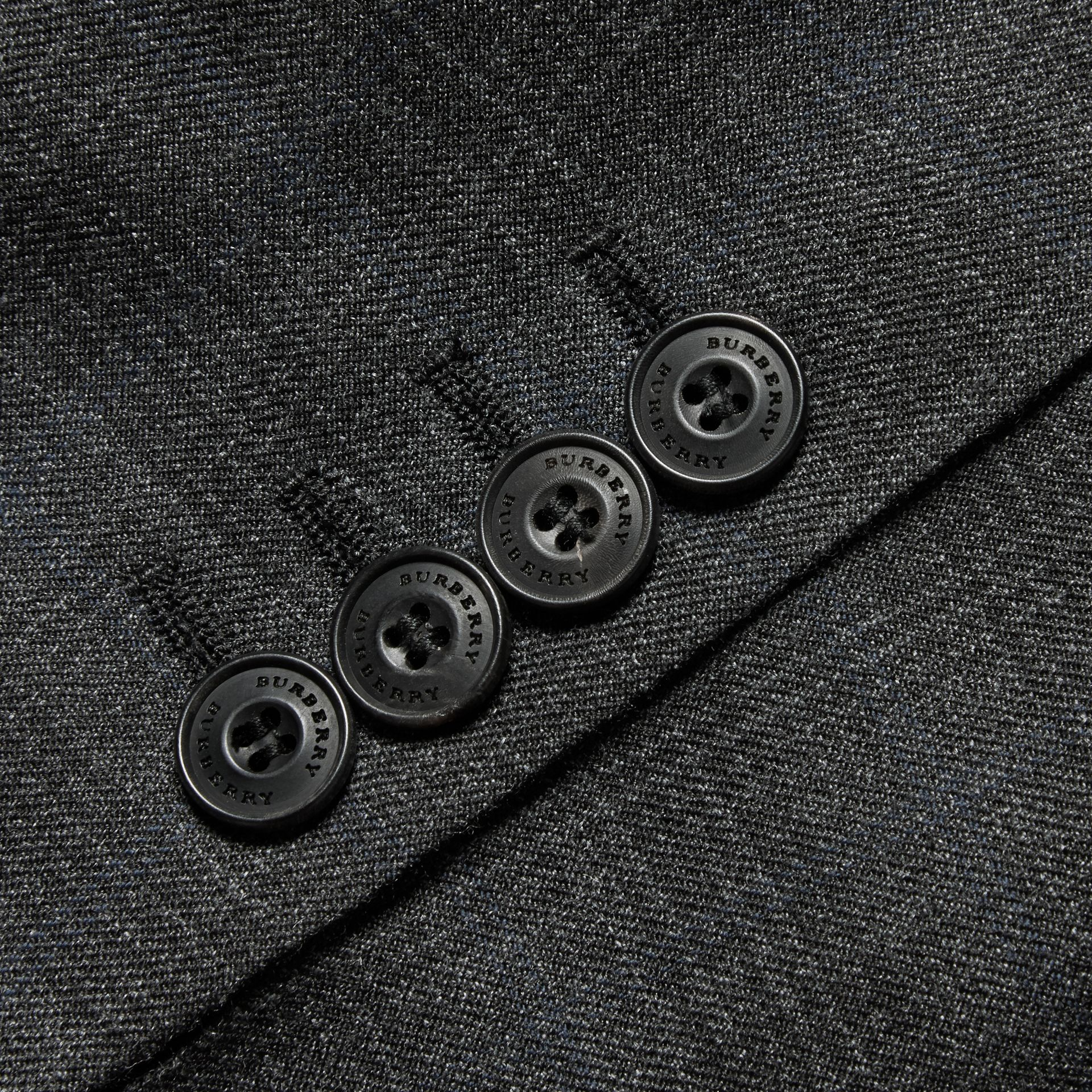 Charcoal Slim Fit Wool Silk Linen Three-piece Part-canvas Suit - gallery image 2