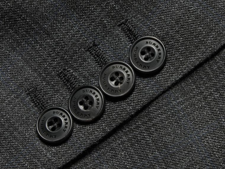 Charcoal Slim Fit Wool Silk Linen Three-piece Part-canvas Suit - cell image 1